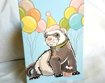 Ferret 'n Balloons Greeting Card
