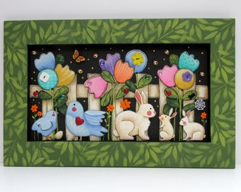 Garden Scene, White Picket Fence, Tulips, Birds, Bunnies,Chick,Butterfly, Flowers, Garden Fence, Hand or Tole Painted, Reclaimed Wood Frame