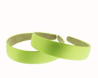 OVERSTOCK - 12 PIECES - 25mm (1 inch) Satin Covered Headband in Apple Green