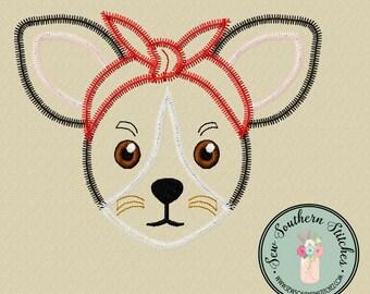 Zig Zag Headband Chihuahua Dog Applique ~ Headband Wearing Chihuahua ~ Instant Download