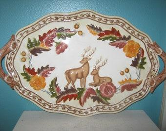 Autumn Platter, Deer And Leaves Platter, Ceramic Platter With Handles, 14 By 9 Platter, Wildlife Platter, Fall Leaves, Deer With Antlers,