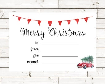 Christmas Gift Certificate- 4x6- Instant Download