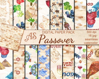 Digital Watercolor Happy Passover Seamless Pack, 16 printable Digital Scrapbooking papers, Jewish Digital Collage, Instant Download, set 368