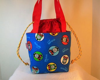 """Insulated Lunch Bag, 4""""by7"""" Drawstring Lunch Box, Blue Thomas the Train Lunch Bag, Cosmetic Sack, Lunchbag"""