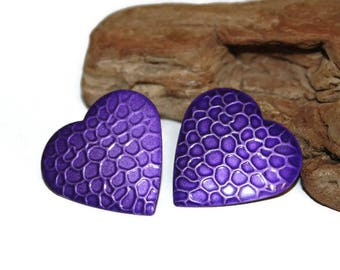 Purple Textured Earrings , Large Purple Heart Earrings, Purple Heart Jewelry, Heart Studs, Retro Earrings, Retro Jewelry, Gift for Her