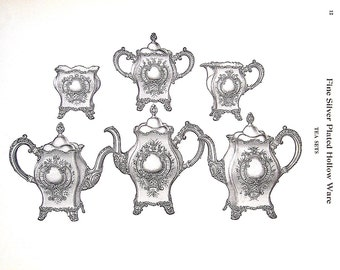 1968 Vintage Book Print - Tea Sets - Victorian Americana Black and White 2 Sided Page