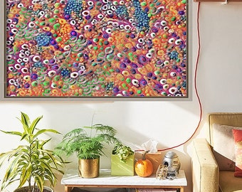 Abstract Art Print - Orange Bubbles - Poster Print - Portraits by NC