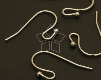 EA-024-OR / 20 Pcs - Ball Point Hook Ear Wires, Silver Plated over Brass / 20mm x 13mm