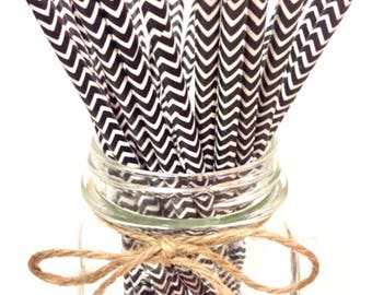 25 Black Chevron paper straws // baby bridal shower decorations // candy dessert buffet table // wedding // First birthday/new year party