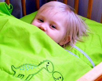 Baby Bedding Set 3pcs, Pure Cotton Bed Linen HANDMADE, Nursery Bedding, Green with Dinosaurs - Sheet, Duvet Cover, Pillowcase - Embroidered