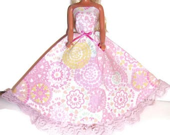 Fashion Doll Clothes-Light PinkFlower Print Strapless Dress