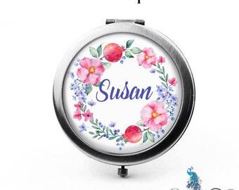 Personalized Compact Mirror Pink Flowers and Berries Floral Wreath Bridesmaid Gifts Cosmetic Mirror Custom Favors - The Susan