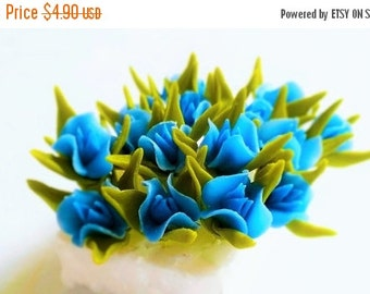 Miniature Polymer Clay Flowers Supplies for Dollhouse, Blue Gentian, set of 10 stems with leaves