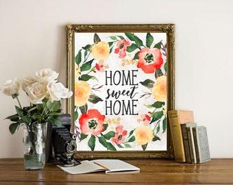 Printable Wall Art, Home Sweet Home printable art, orange yellow Home art, Home decor, gallery wall home poster, apartment decor digital art