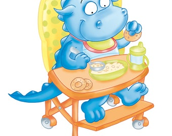 the dragon mascot reads a book