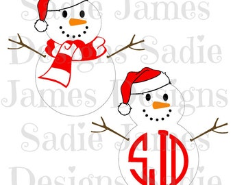 Snowman monogram frame SVG, EPS and Silhouette Studio cutting file, Instant Download