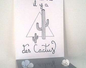 """inspirational """"in life there are cactus""""poster illustrated by hand"""
