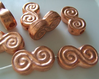 Mykonos Greek Cast Coppered Double Spiral or Whirligig Beads