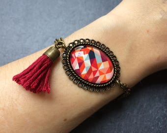 Bracelet Burgundy geometric pattern, orange cabochon glass bronze creation original gift
