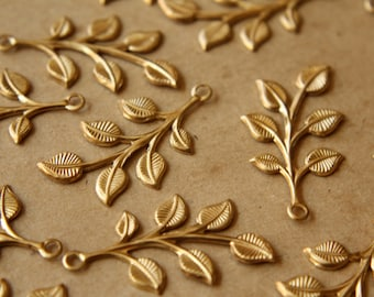 6 pc. Raw Brass Leafy Sprigs: 38mm by 19mm - made in USA | RB-538