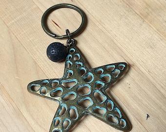Patina starfish, Pewter keychain, starfish keychain, oils keychain, key ring, patina sea star, starfish key ring, key chain, sea star