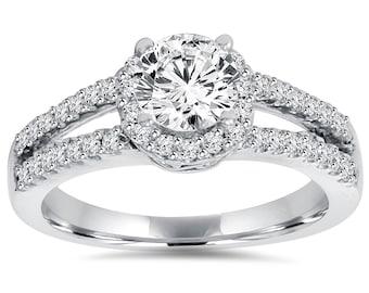 Diamond Engagement Ring, Halo Diamond Engagement Ring, Lab Grown Diamond Ring 1.00CT Lab-Created Diamond Engagement Ring Halo 14K White Gold