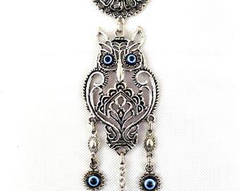 Handmade Owl / Evil Eye – Nazar Alloy Wall Hanging