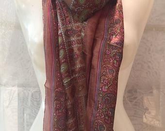 Printed silk scarf. Brown cloth. Cloth flowers. Summer shawl.