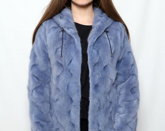 Blue Mink fur jacket, Real Mink Fur hood,Mink jacket