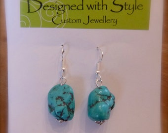 Turquoise nuggets  - surgical steel earrings