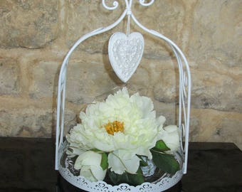 Decorative cake stand in metal with floral composition (white peonies)