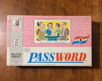 Password by Milton Bradley 1963, vintage board game, vintage Password game, 1963 Password home version, Password game show, 1960s board game