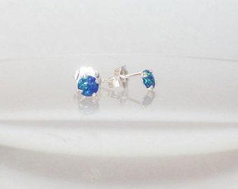 Opal Earrings, Opal Studs, Dark Blue Opals, Opal Stud Post, Stud Earrings, Opal Jewelry