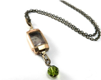 Victorian Locket, Victorian Photo Watch Locket Necklace, Victorian Style Locket - Opera Length Chain - Olive Green