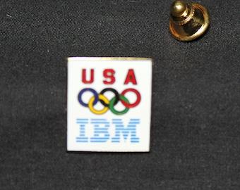 Olympic Pin IBM Advertising, Metal pin and Tie Tack holder, Colorful Rings, Atlanta, Gold Tone Metal