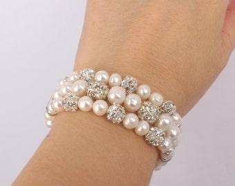 Hailey - Freshwater Pearl and Rhinestone Bridal Bracelet
