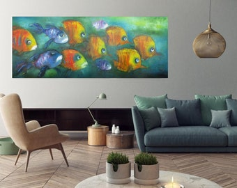 """extra long horizontal fish abstract painting 56""""x24"""" Art prints canvas giclee,Modern posters on Fine art print paper,Huge sizes wall art"""