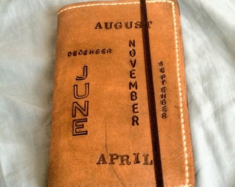 Handmade Stitched Leather Pocket Moleskine Journal Planner Cover - Brown with Months of the Year