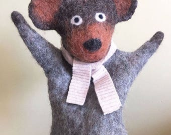 Eco Friendly Bear hand puppet, wet felted, naturally dyed wool felt, nursery and home decor, soft art toy, soft sculpture