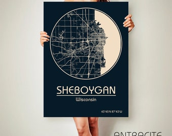 SHEBOYGAN Wisconsin CANVAS Map Sheboygan Wisconsin Poster City Map Sheboygan Wisconsin Art Print Sheboygan Wisconsin