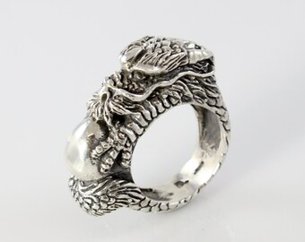 Handmade Sterling Silver Dragon Pearl of Wisdom Ring