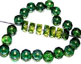 50pcs Belly Rondelles Czech Glass Faceted Beads 3x6mm, Olivine Aqua Lustre (FBR025)