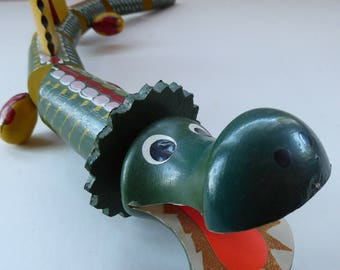 Quirky GREEN DRAGON Vintage 1970s Articulated Wooden Toy. Nearly 18 inches in length