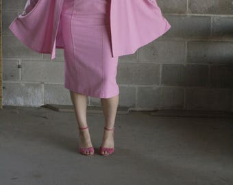 vintage 1970s blush pink cape / light weight cape / pink suit / us 9/10 / s / m / l / xl