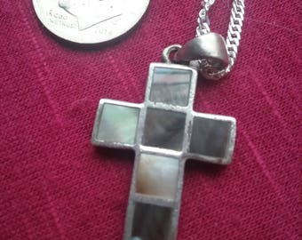Silver Cross necklace with inlaid abalone