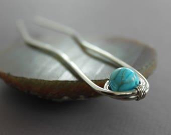 Silver hair fork pin with blue jasper stone - Hair fork - Hair jewelry - Hair accessory - Metal hair pin