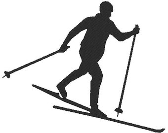 Cross Country Skier - Embroidery Design File - Instant Download - One color - 5 x 7 hoop - Nordic