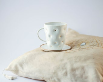Lovely white ceramic cup with pillow effect and golden dots 0.2L/ 6.76oz/ cup and saucer/ christmas gift/ dotted cup/ tea cup/white and gold