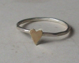 Little Heart- Sterling Silver and Brass -Stacking Ring