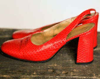 Red Vintage Heels |Slingback Heels | Dorothy Heels | Red Leather Heels | Square Toe | Jewel Tone | Ruby Red | Patent Leather | Sz 36.5 | 60s